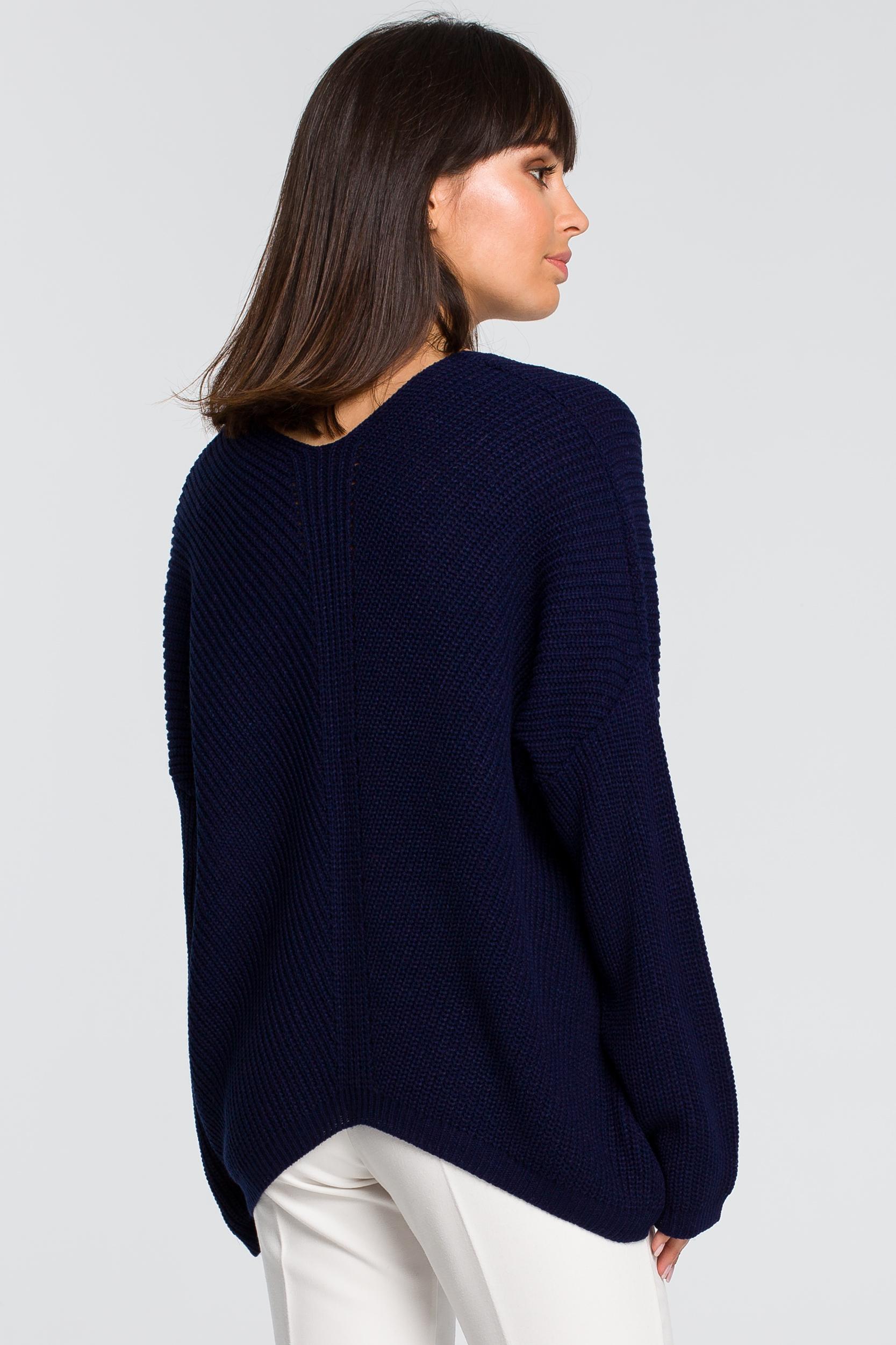 CM4153 Sweter asymetryczny - granatowy