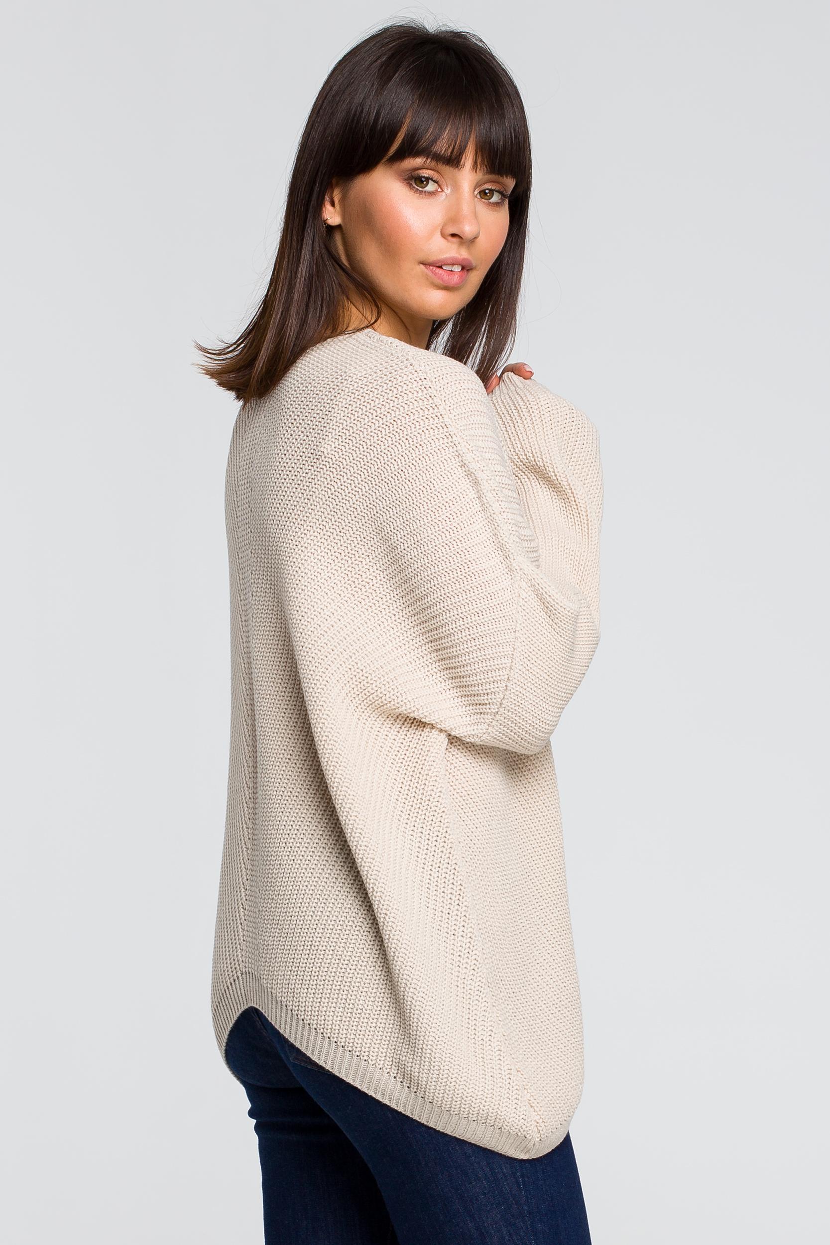 CM4153 Sweter asymetryczny - beżowy