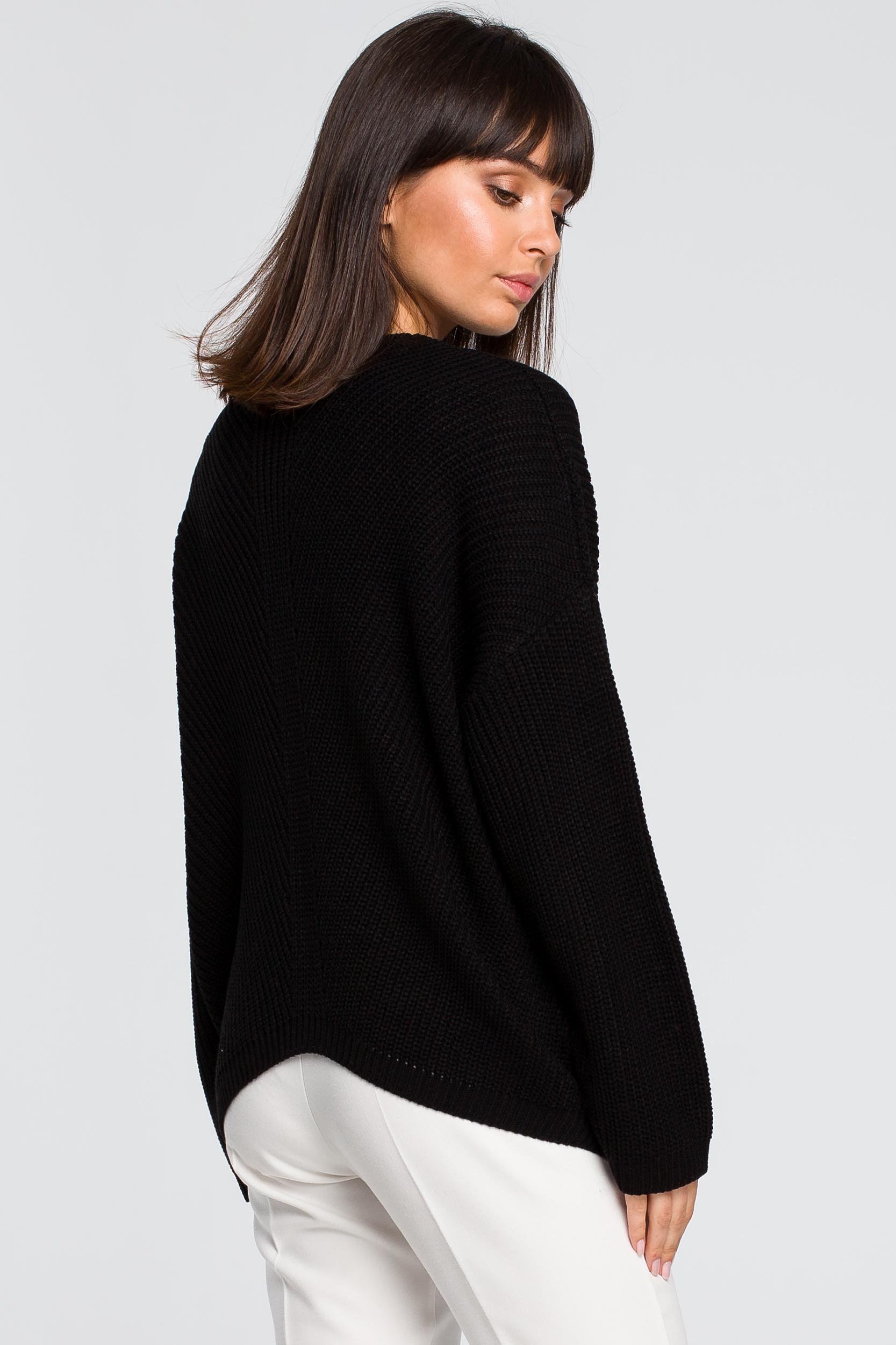 CM4153 Sweter asymetryczny - czarny