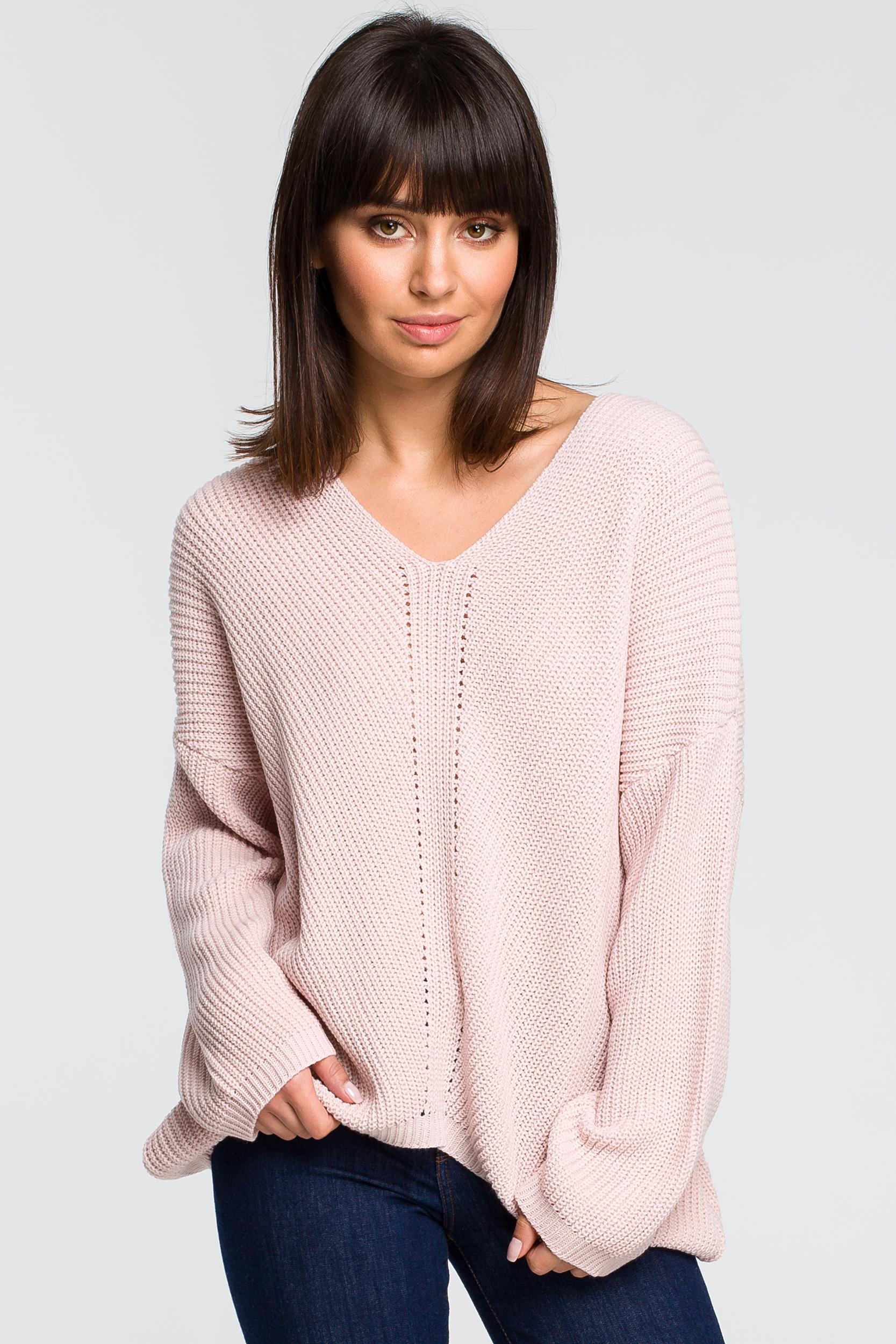 CM4153 Sweter asymetryczny - różowy