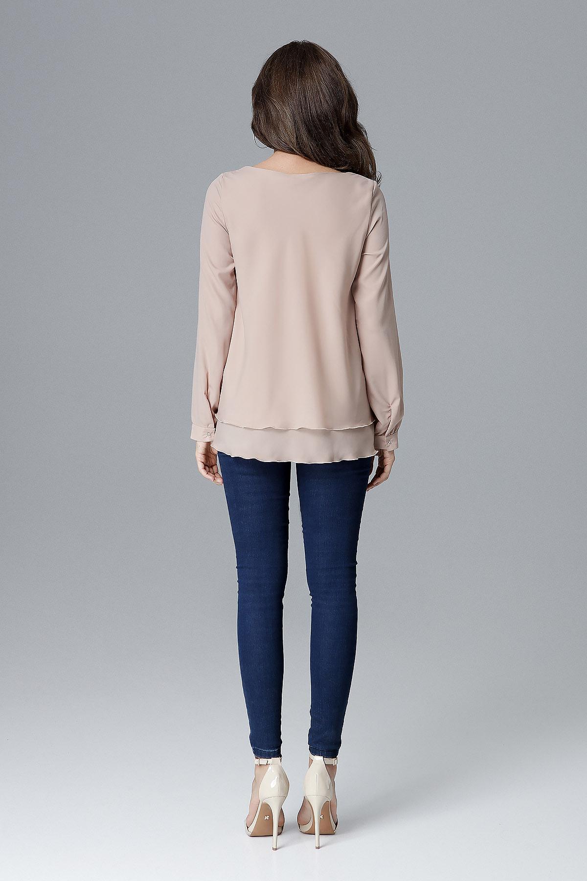 CM4157 Luźna bluzka damska z falbanką - beżowa