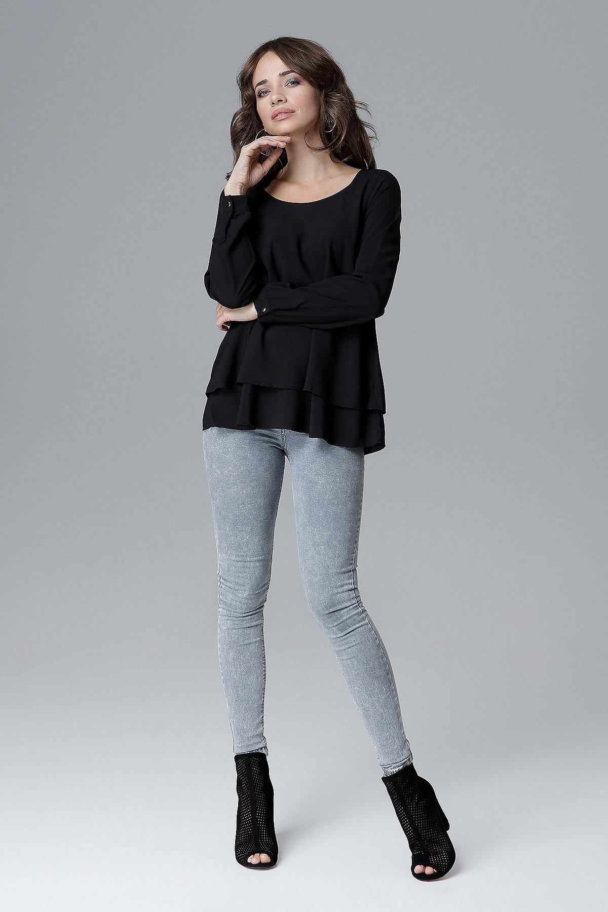 CM4157 Luźna bluzka damska z falbanką - czarna