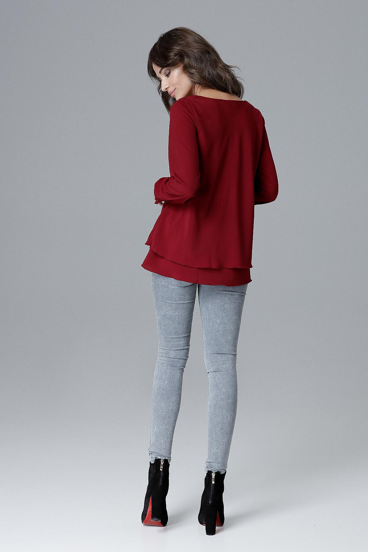 CM4157 Luźna bluzka damska z falbanką - bordowa