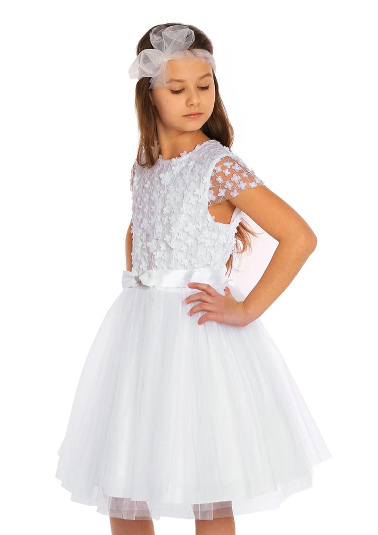 MA115 Dziewczęca sukienka tiulowa - śmietankowa-biel