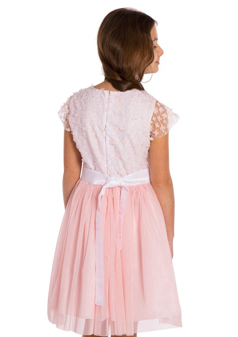 MA115 Dziewczęca sukienka tiulowa - pudrowy róż