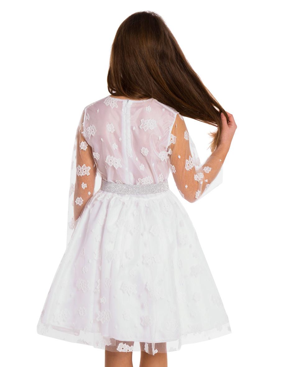 MA117 Dziecięca sukienka z koronką - śmietankowa-biel