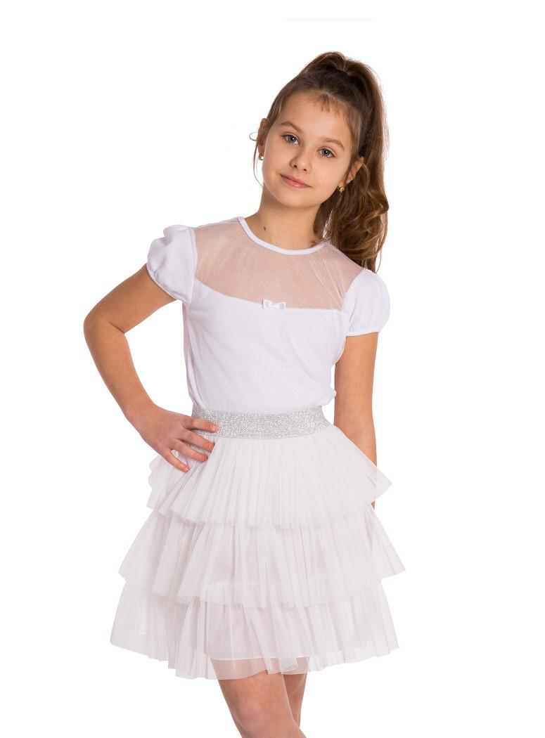 MA118 Tiulowa spódniczka dziecięca w 3 falbanki - śmietankowa-biel