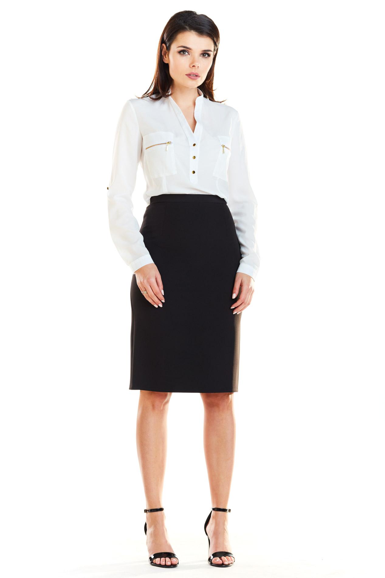 CM4166 Elegancka spódnica biurowa - czarna