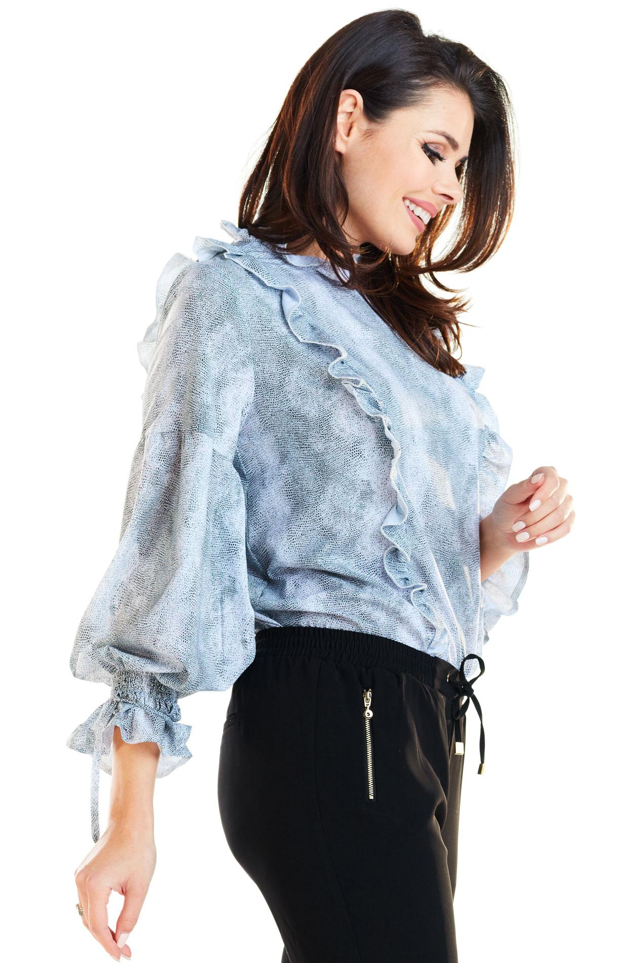 CM4170 Stylowa bluzka z falbankami - szara