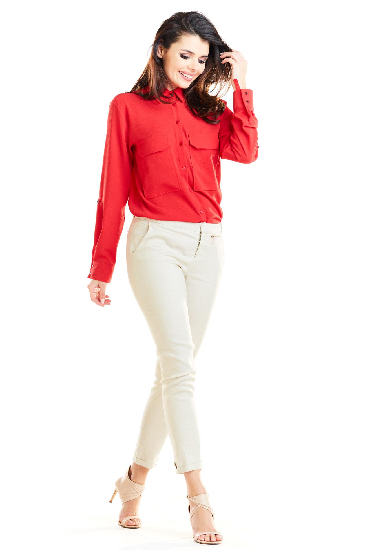 CM4171 Klasyczna zapinana koszula - czerwona