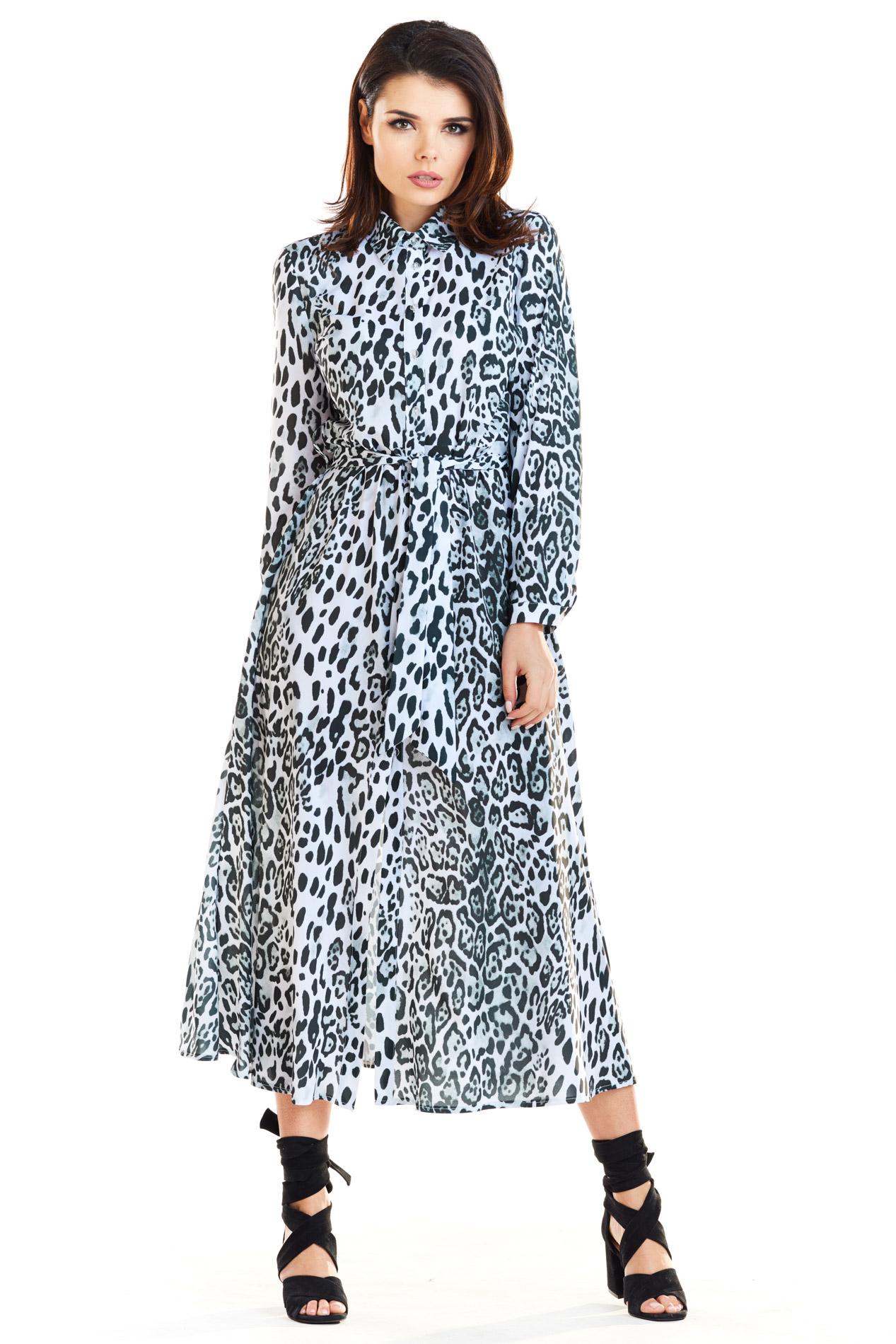 CM4173 Trapezowa sukienka maxi z rozcięciem - biało-czarna
