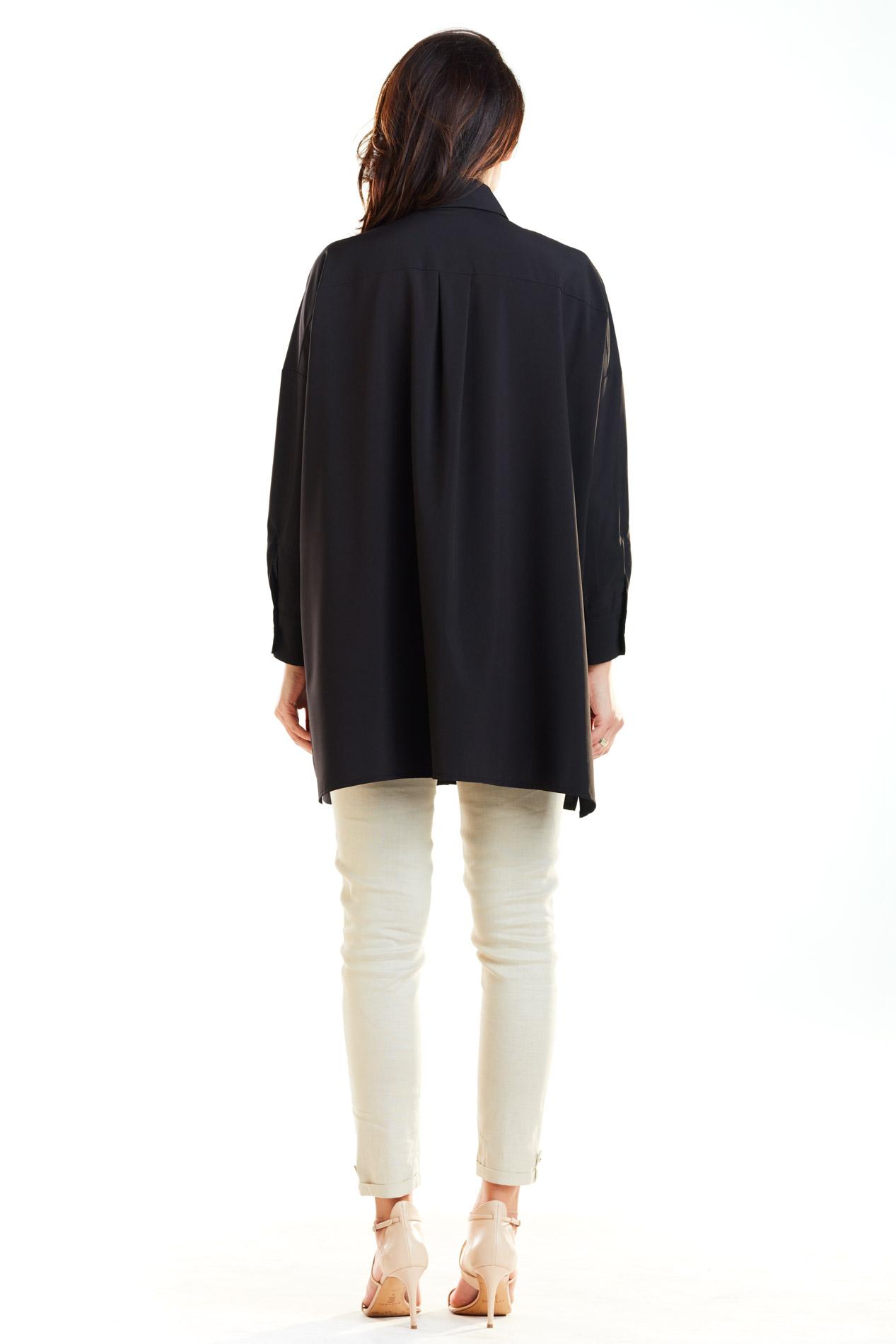 CM4174 Koszula oversize ze złotymi zamkami - czarna