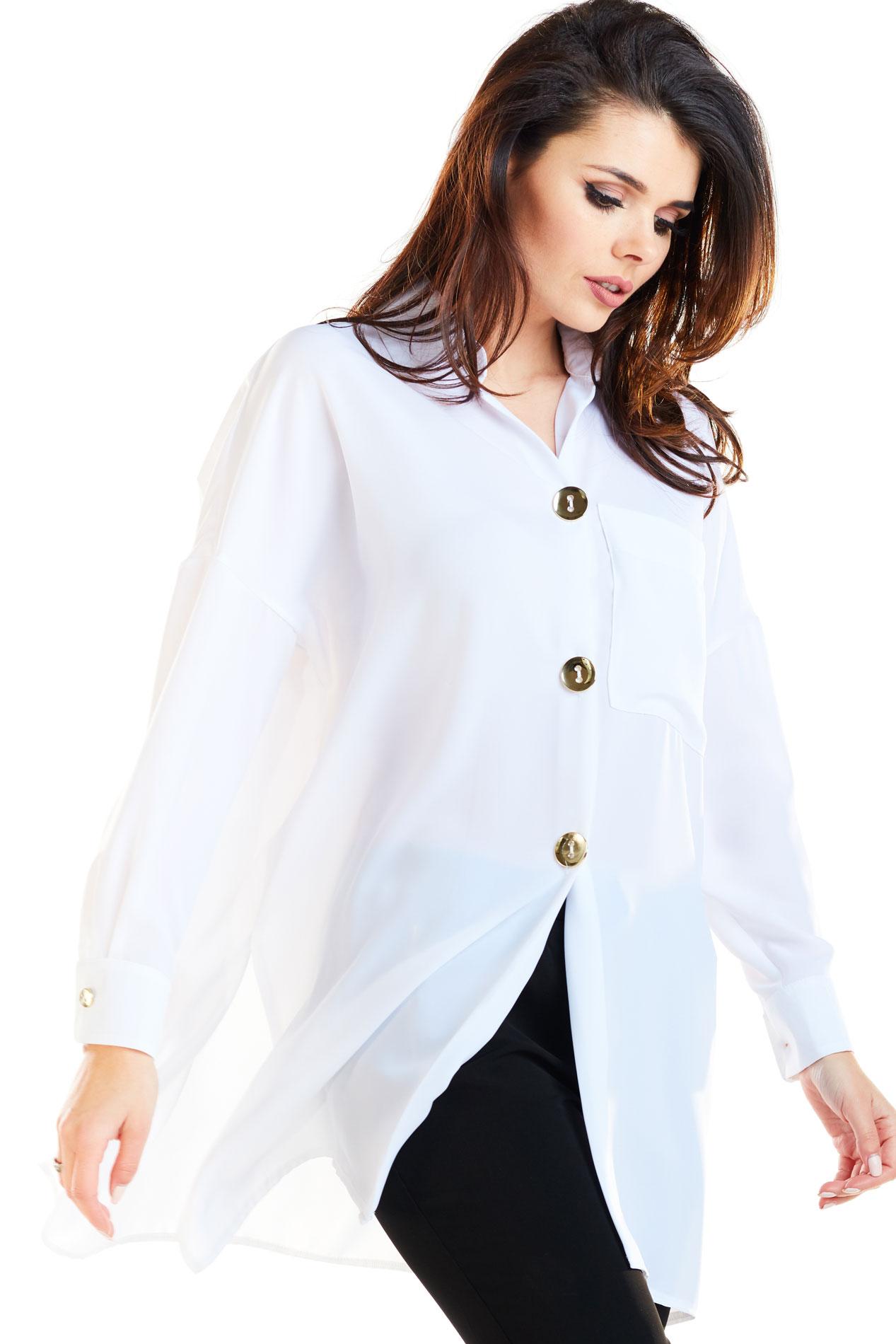 CM4174 Koszula oversize ze złotymi zamkami - biała