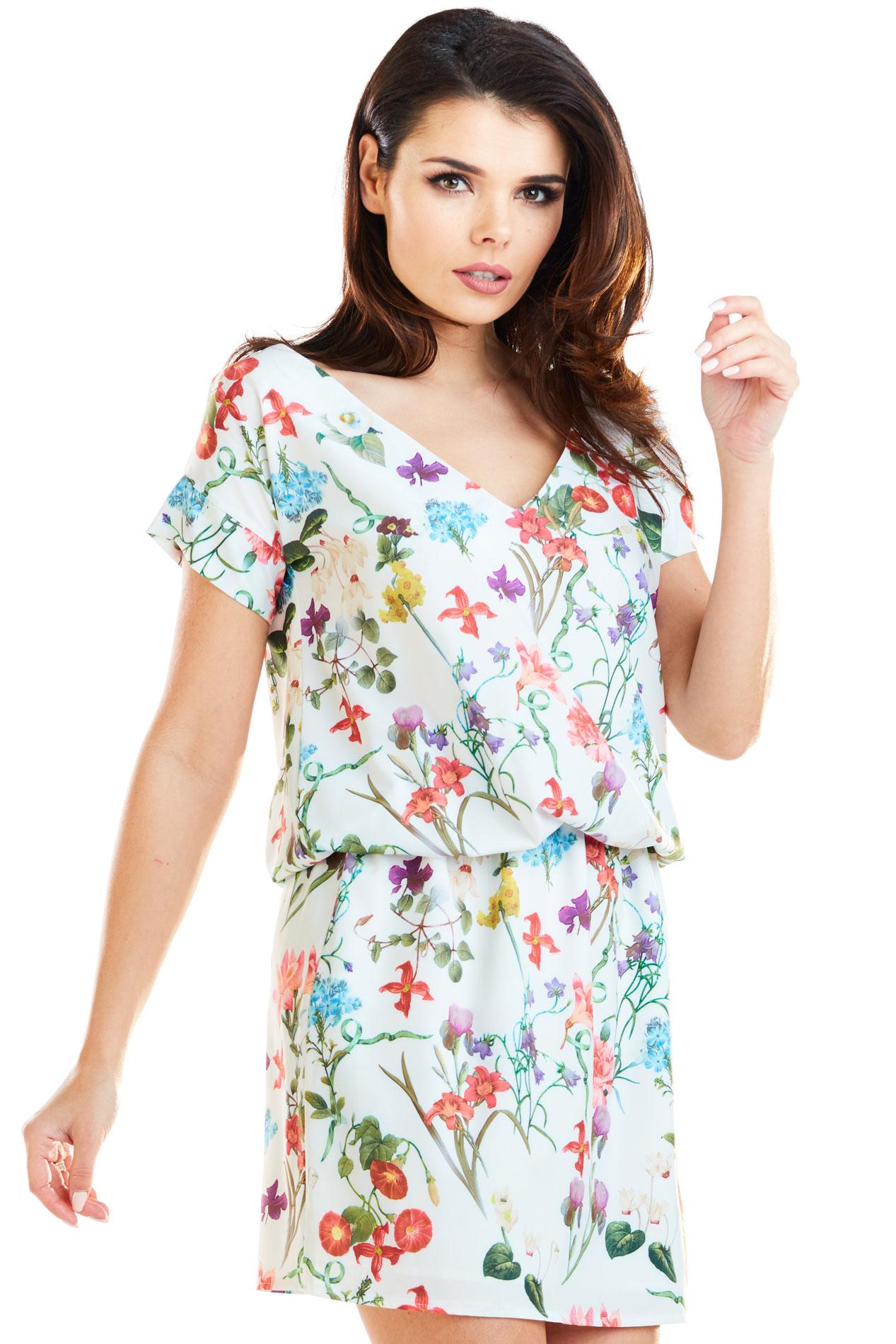 CM4175 Sukienka mini na wiosnę - kwiaty-ecru