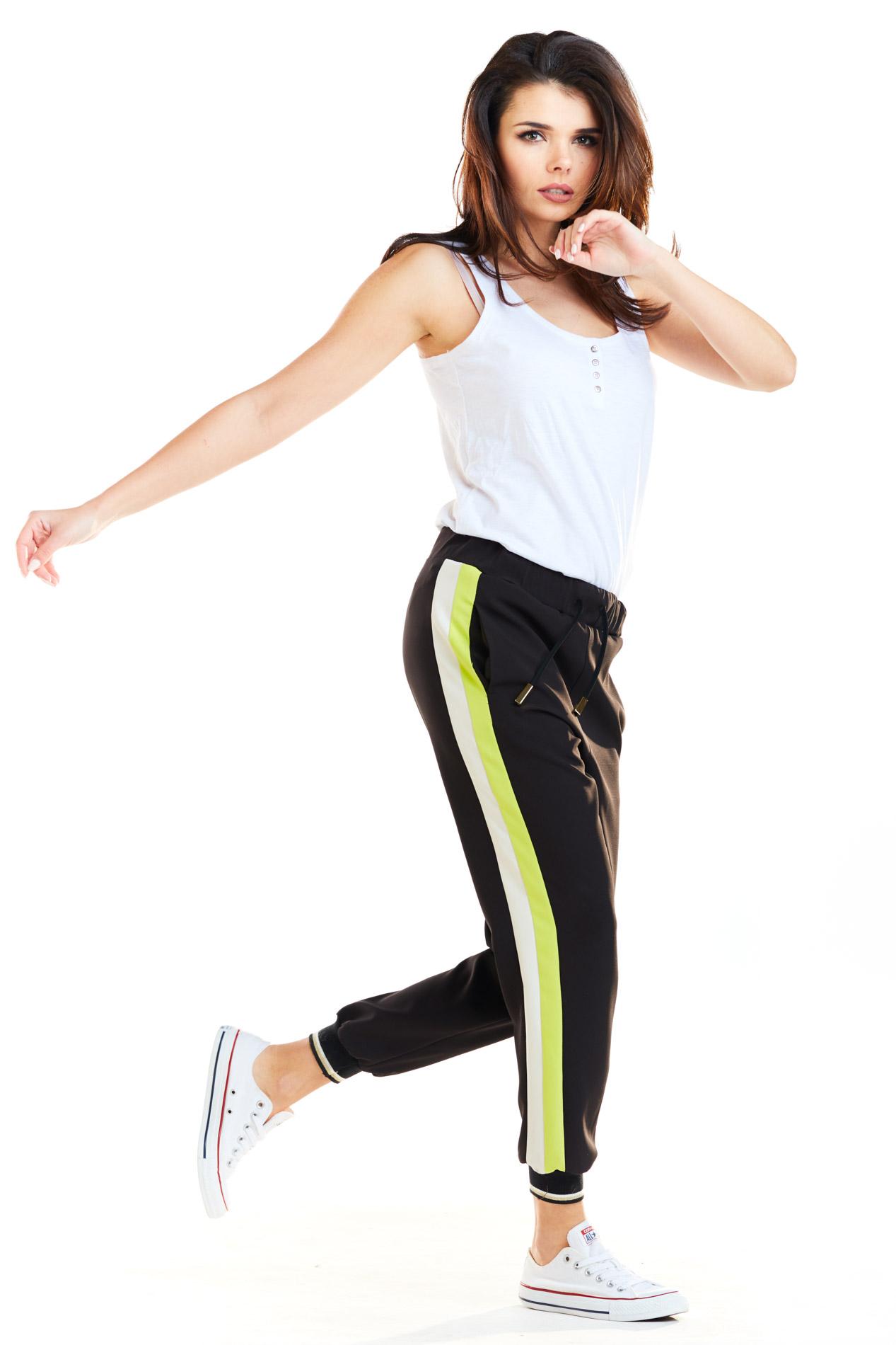 CM4177 Spodnie damskie z lampasami - limonkowe