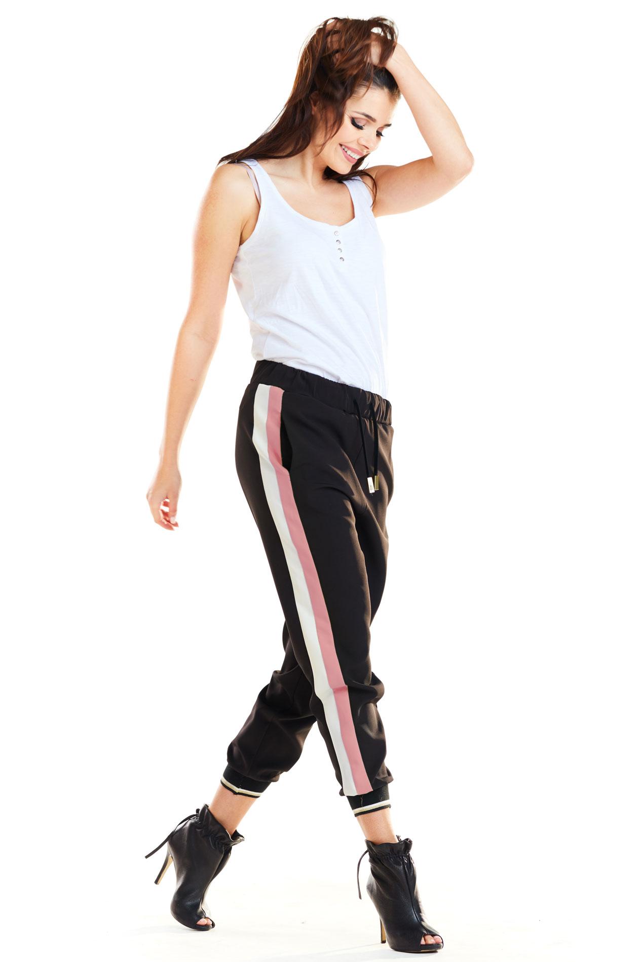 CM4177 Spodnie damskie z lampasami - różowe
