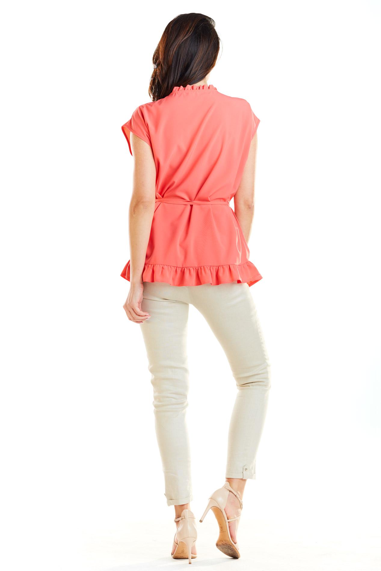 d8012d404ada ... CM4180 Kobieca bluzka z krótkim rękawem - koralowa ...