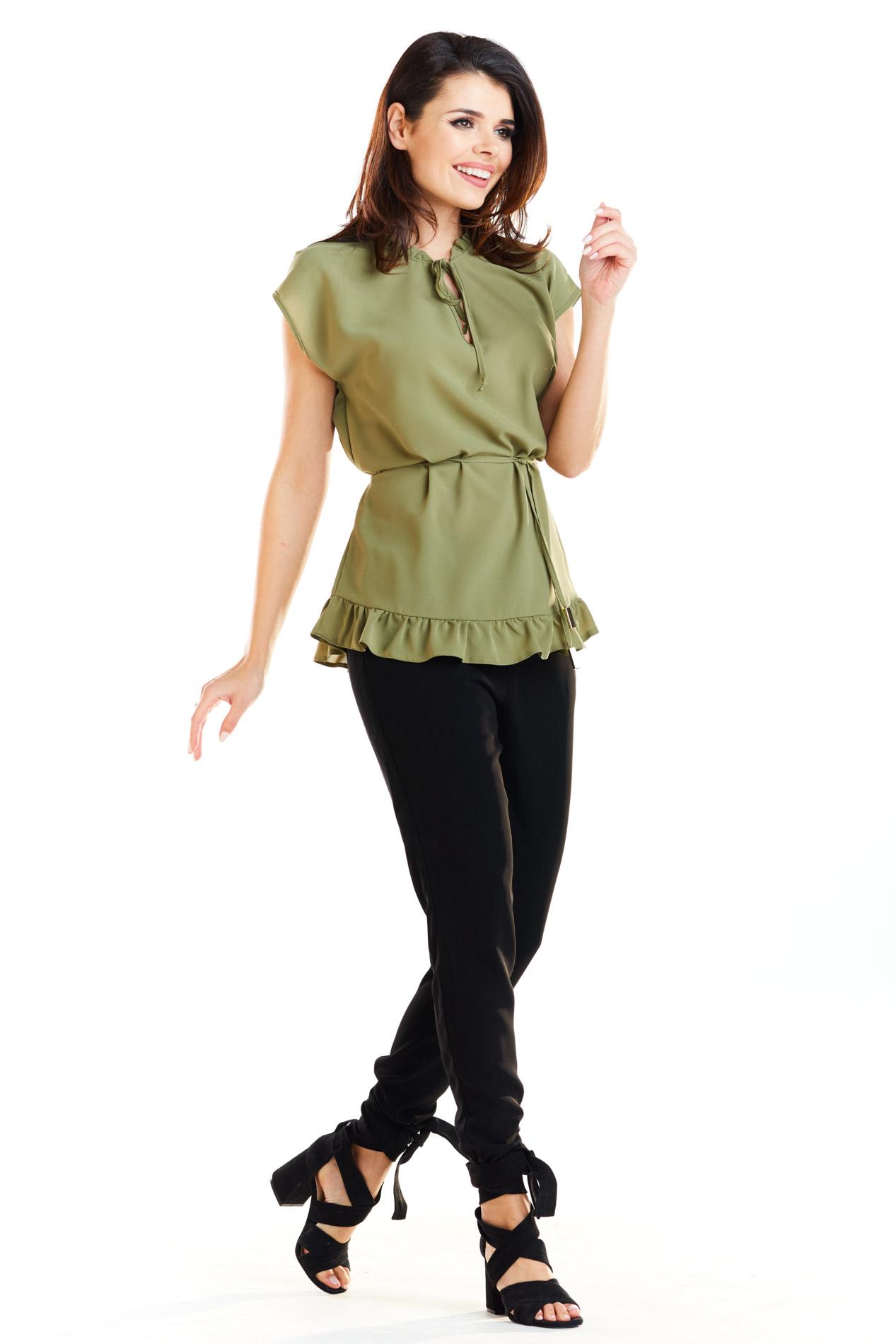 CM4180 Kobieca bluzka z krótkim rękawem - khaki