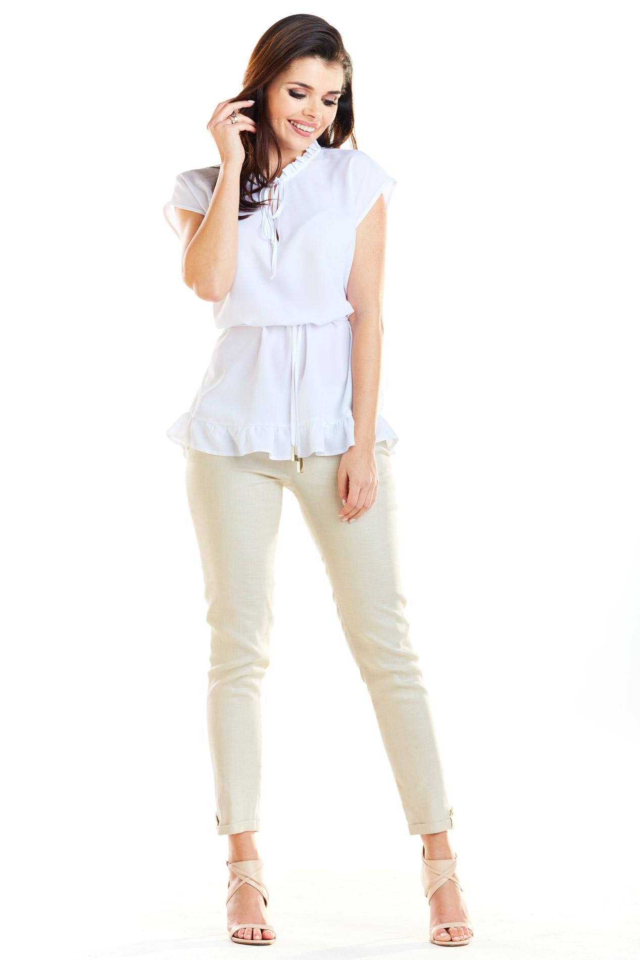d1e5d0042e60 ... CM4180 Kobieca bluzka z krótkim rękawem - biała ...