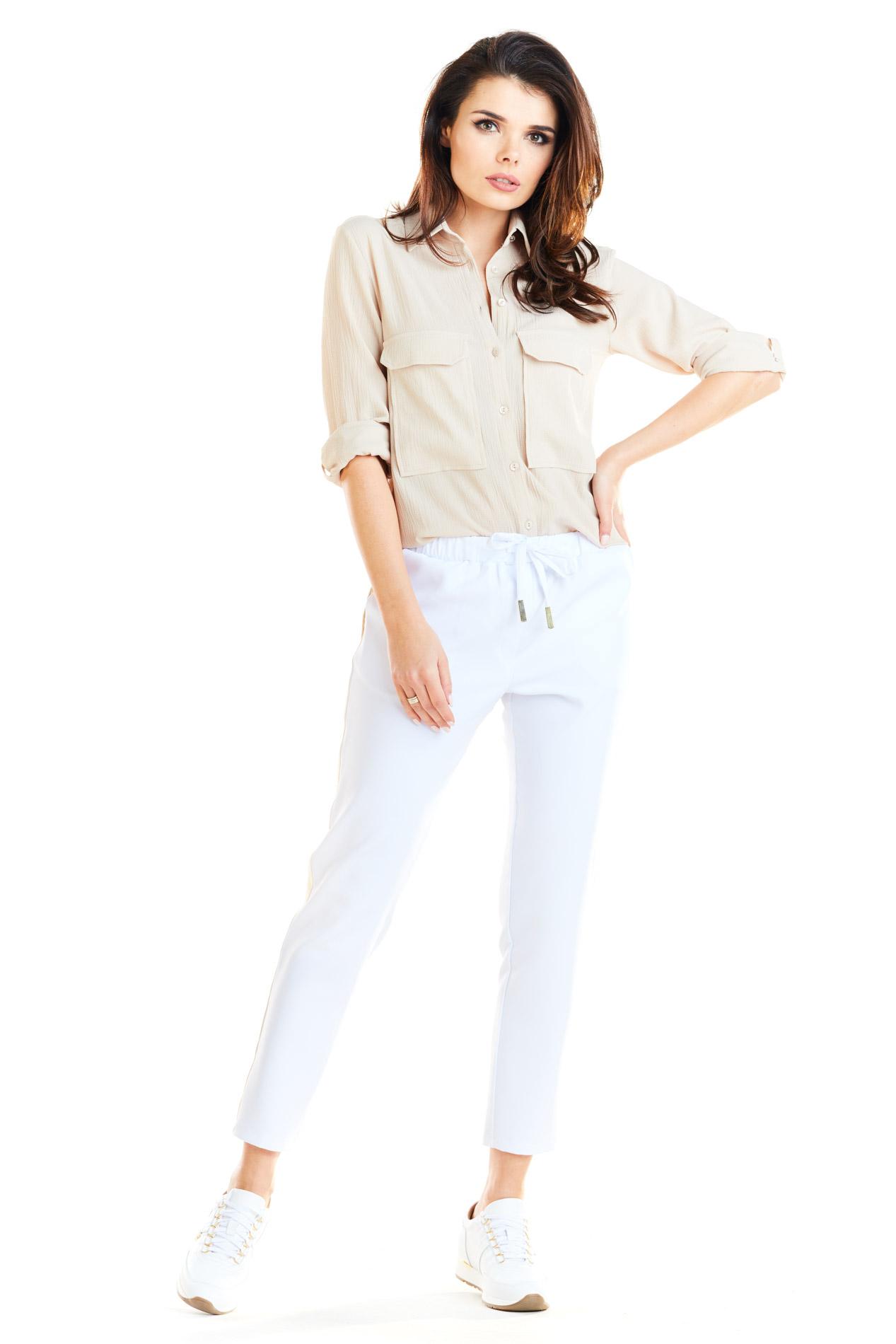 CM4181 Casualowe spodnie na co dzień - białe