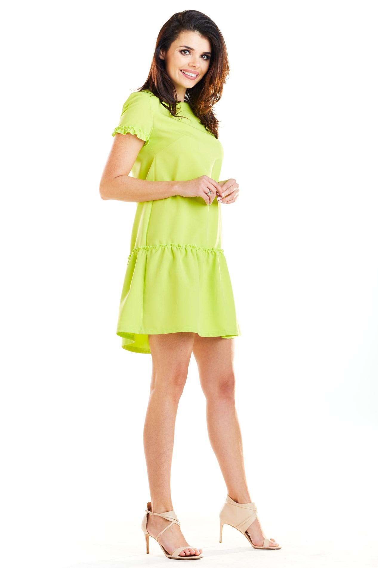 CM4184 Sukienka mini z odcinanym dołem - limonkowa