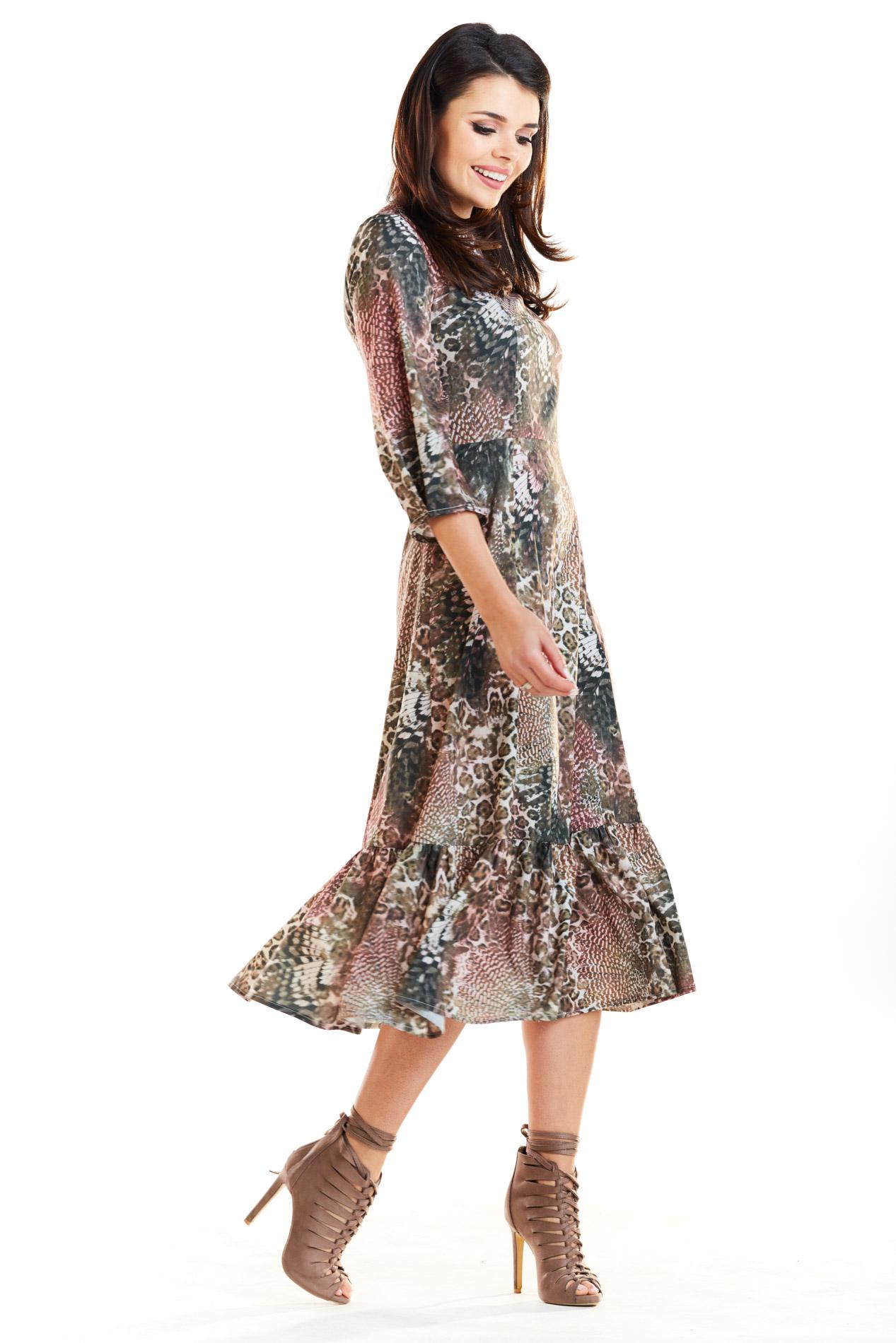 CM4187 Sukienka midi z falbaną - brązowa