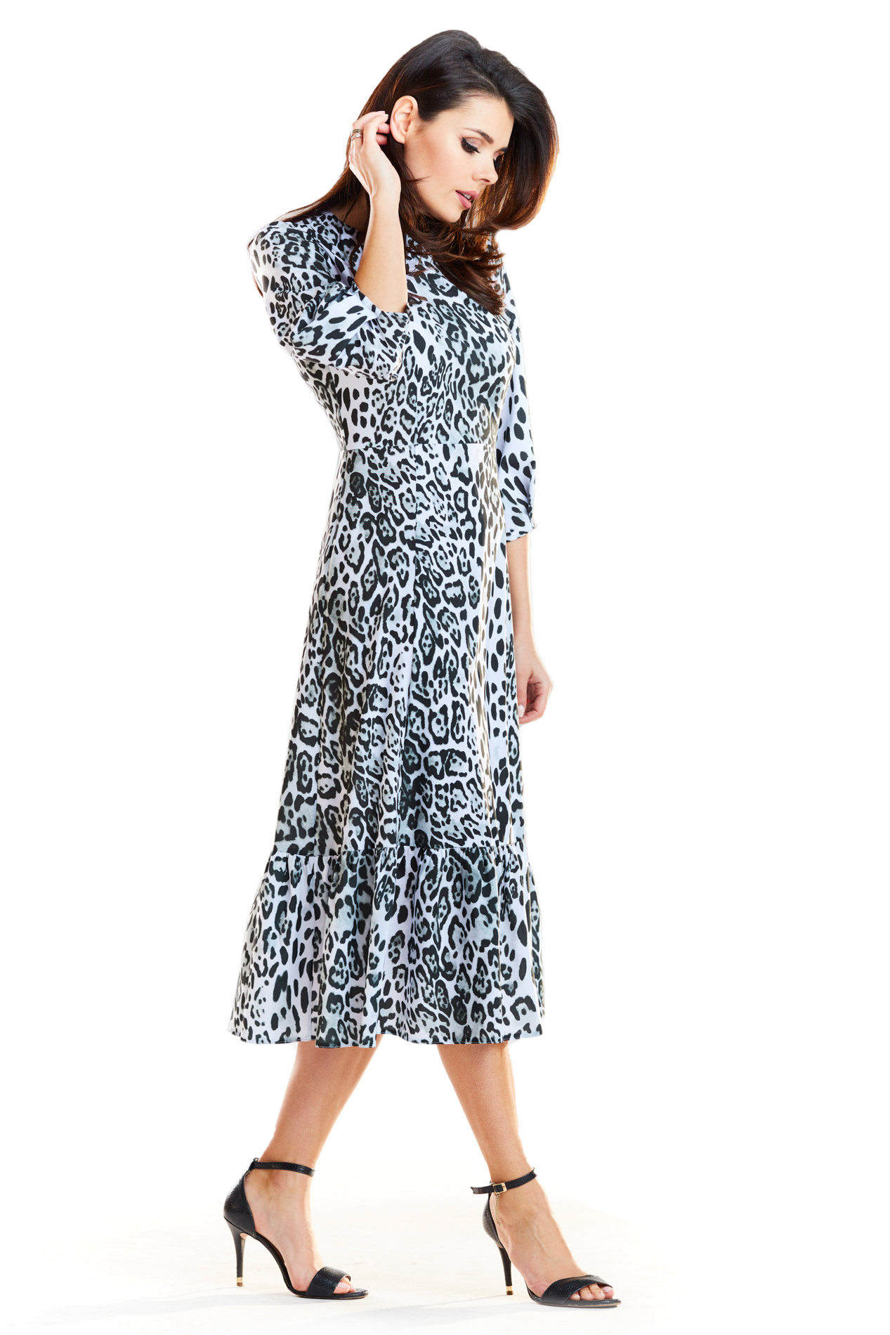 CM4187 Sukienka midi z falbaną - czarno-biała