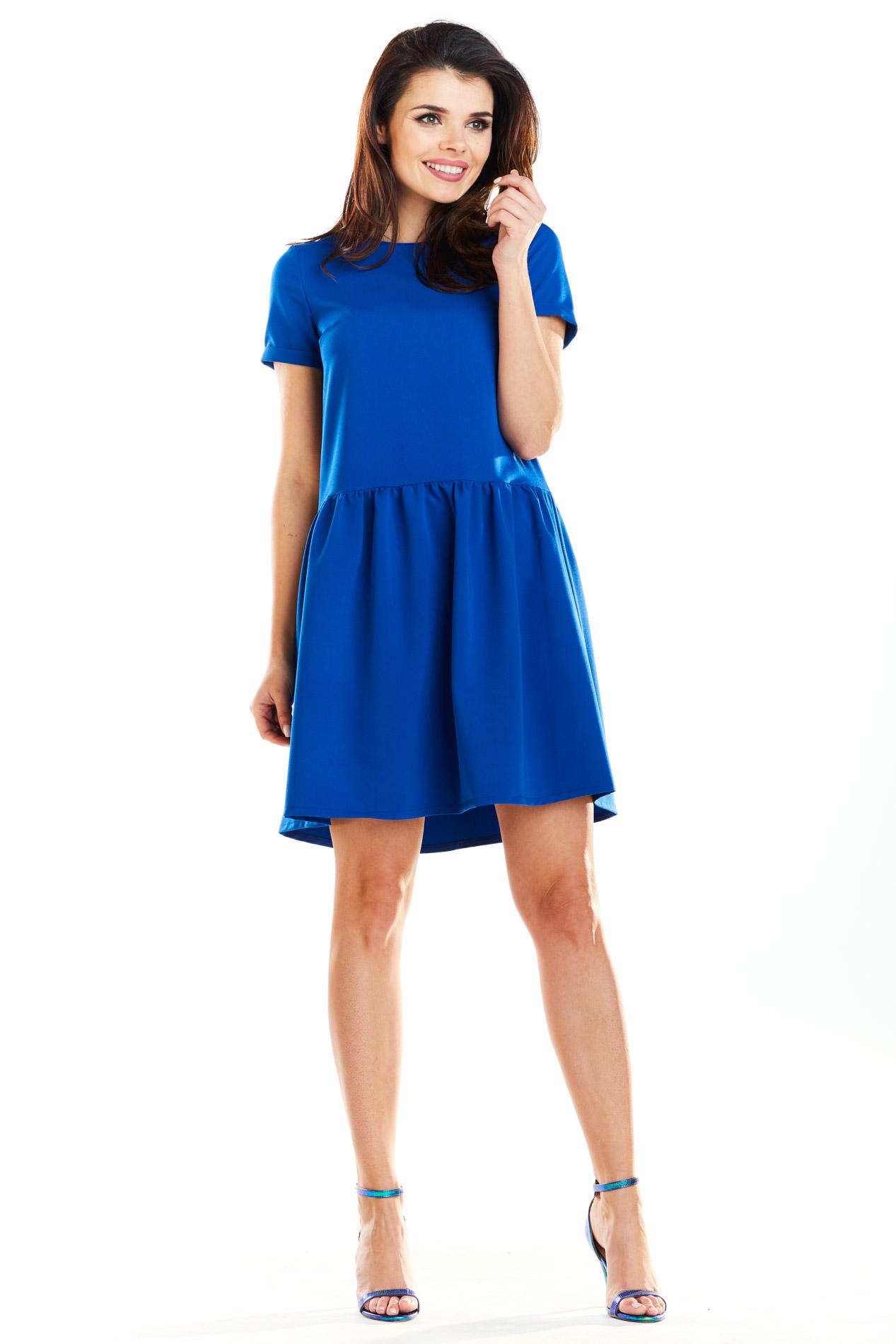 CM4188 Sukienka mini z odcięciem w talii - niebieska
