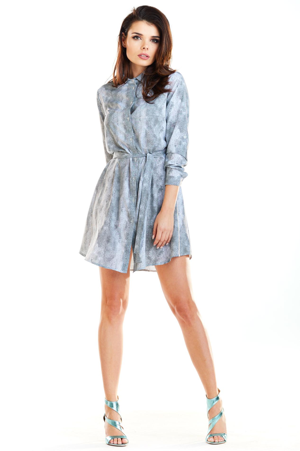 CM4192 Sukienka koszulowa zapinana na guziki - szara