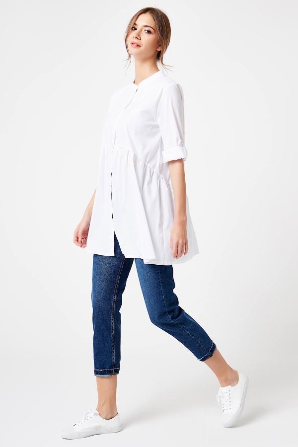 CM4195 Koszula z podpinanymi rękawami - biała