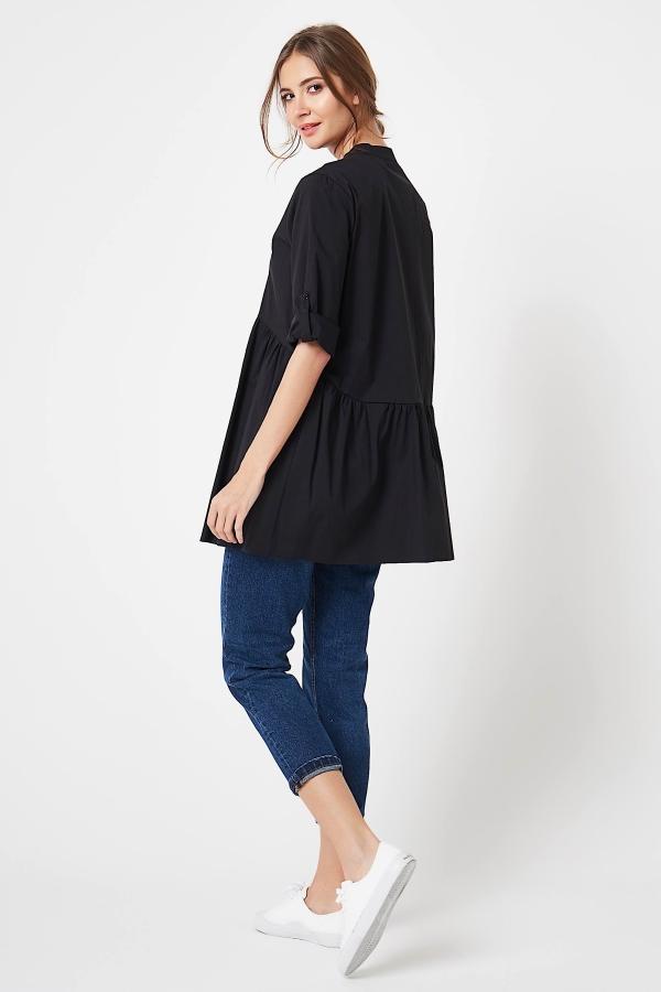 CM4195 Koszula z podpinanymi rękawami - czarna