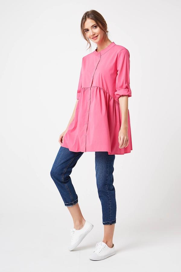CM4195 Koszula z podpinanymi rękawami - różowa