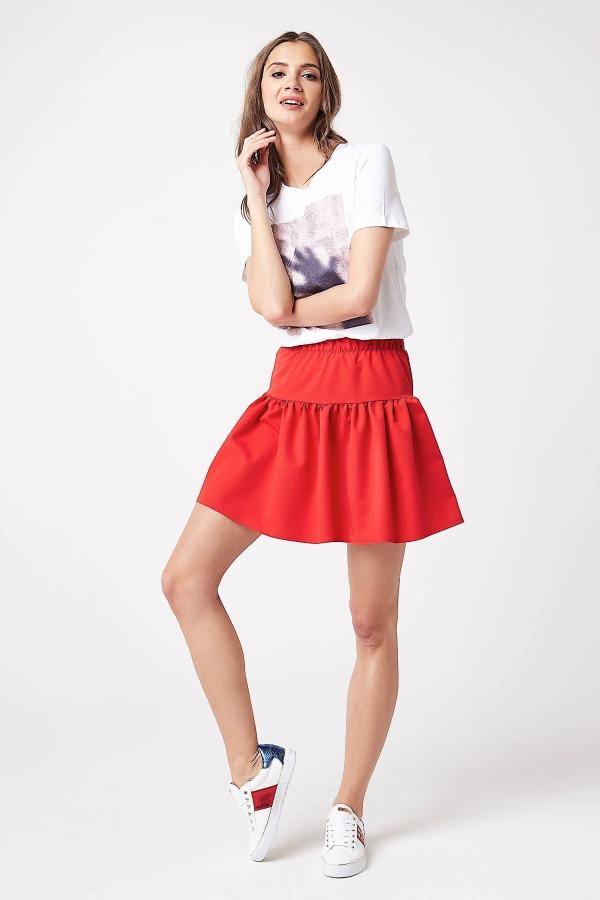CM4197 Rozkloszowana spódniczka mini - czerwona