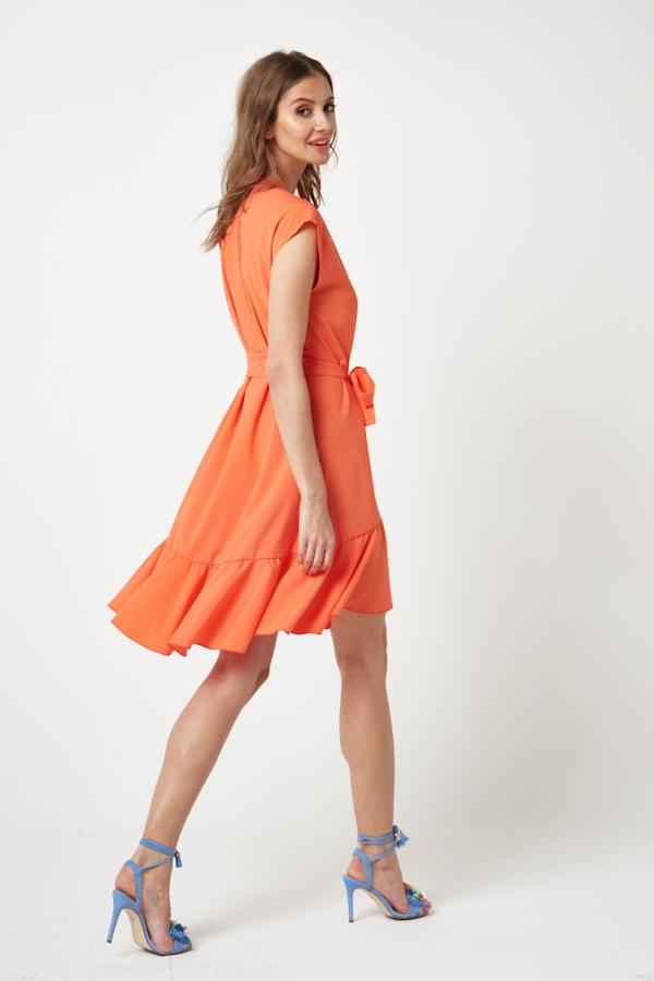 CM4206 Wiązana w pasie sukienka mini - pomarańczowa