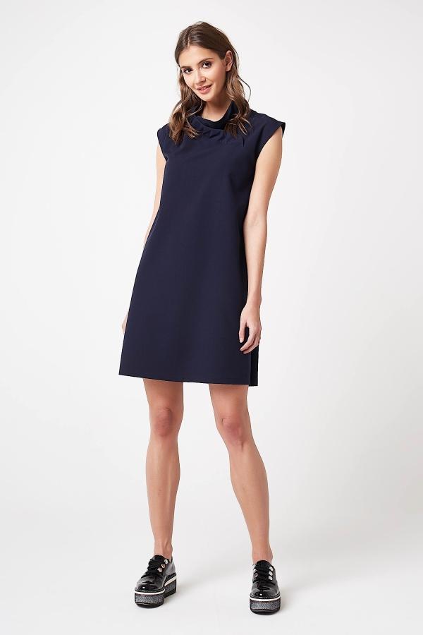 CM4207 Trapezowa sukienka bez rękawów - granatowa
