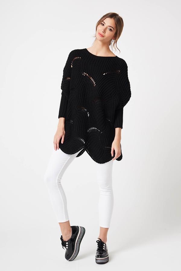 CM4211 Luźny sweter typu fala - czarny
