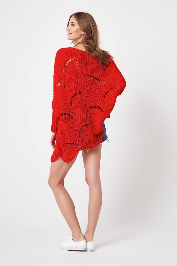 CM4211 Luźny sweter typu fala - czerwony