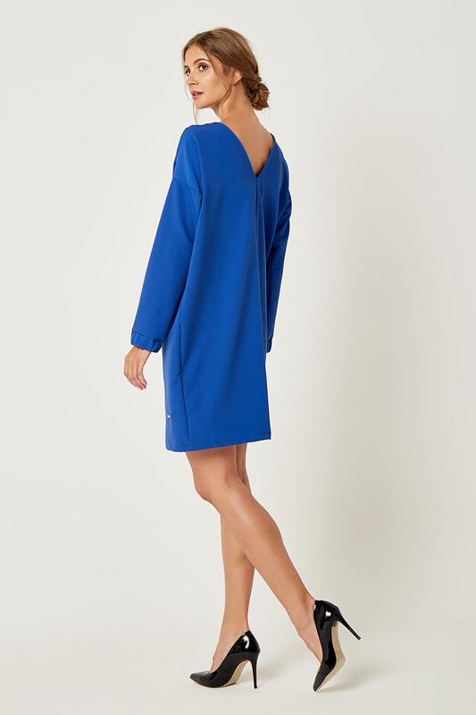 CM4239 Klasyczna sukienka oversize - chabrowa