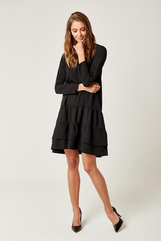 CM4240 Rozkloszowana sukienka z podwójną falbanką - czarna