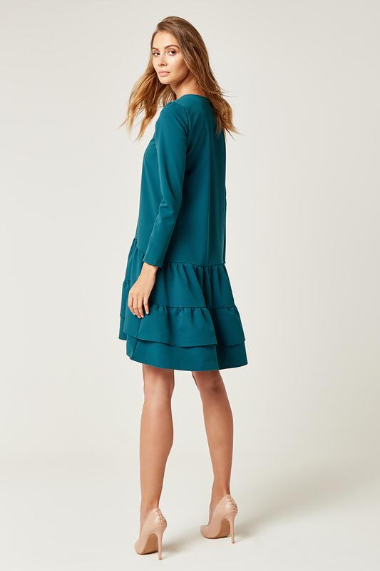 CM4240 Rozkloszowana sukienka z podwójną falbanką - zielona