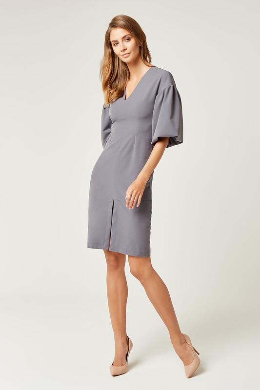CM4242 Biurowa sukienka z szerokim rękawem - szara