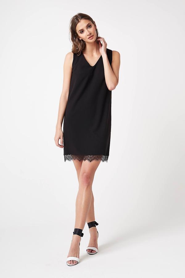 CM4243 Sukienka mini bez rękawów z koronką - czarna