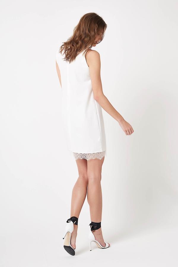 CM4243 Sukienka mini bez rękawów z koronką - ecru