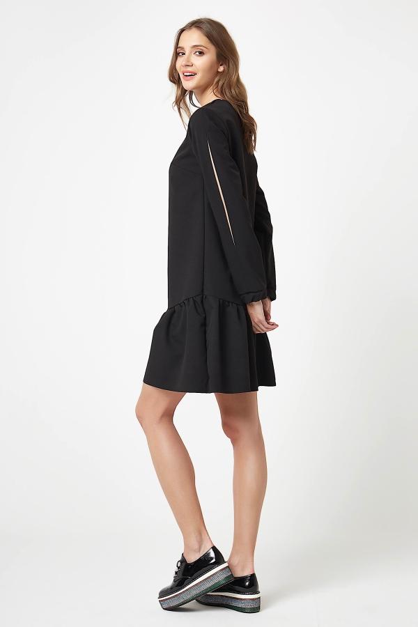 CM4244 Miękka delikatna sukienka z długim rękawem - czarna