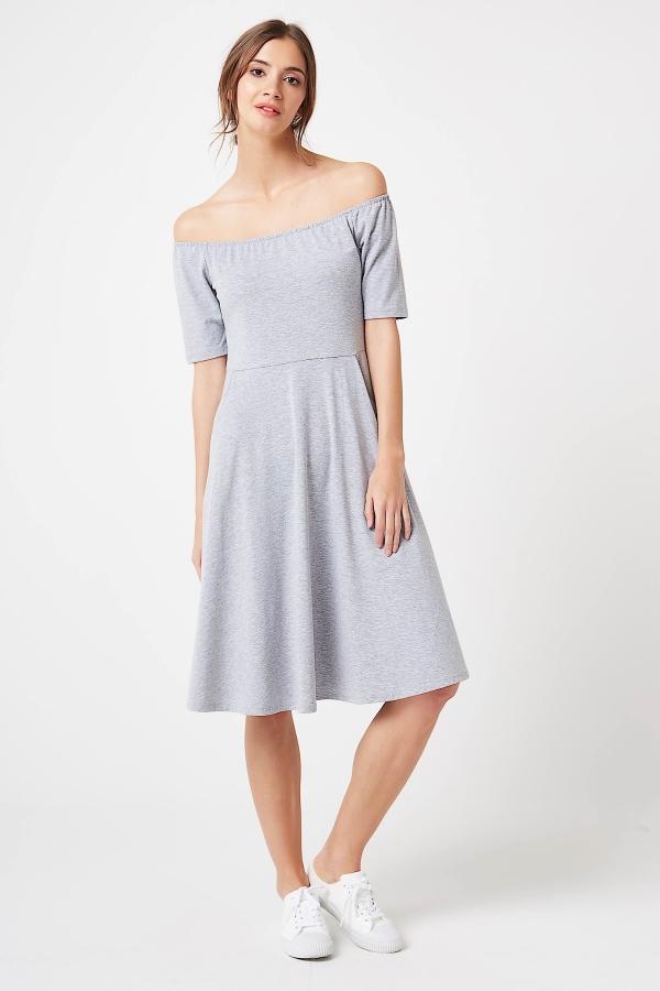 CM4247 Sukienka z odkrytymi ramionami - szary melanż