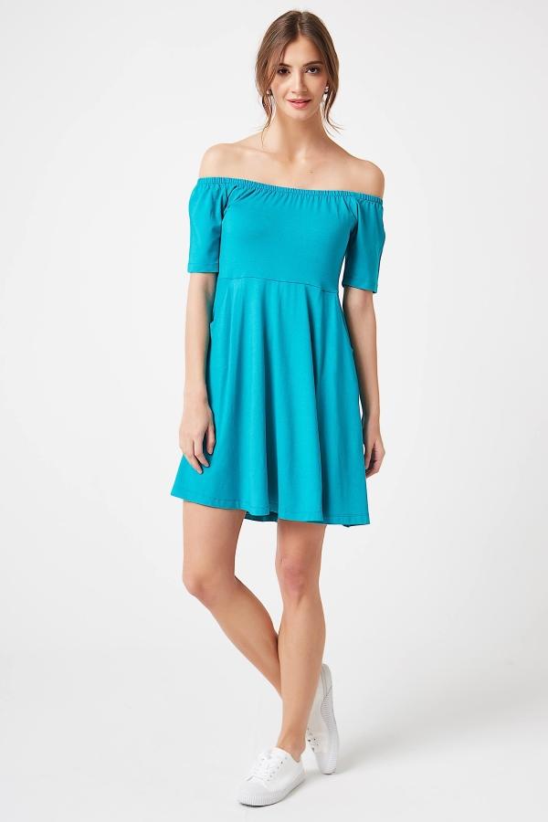 CM4247 Sukienka z odkrytymi ramionami - turkusowa