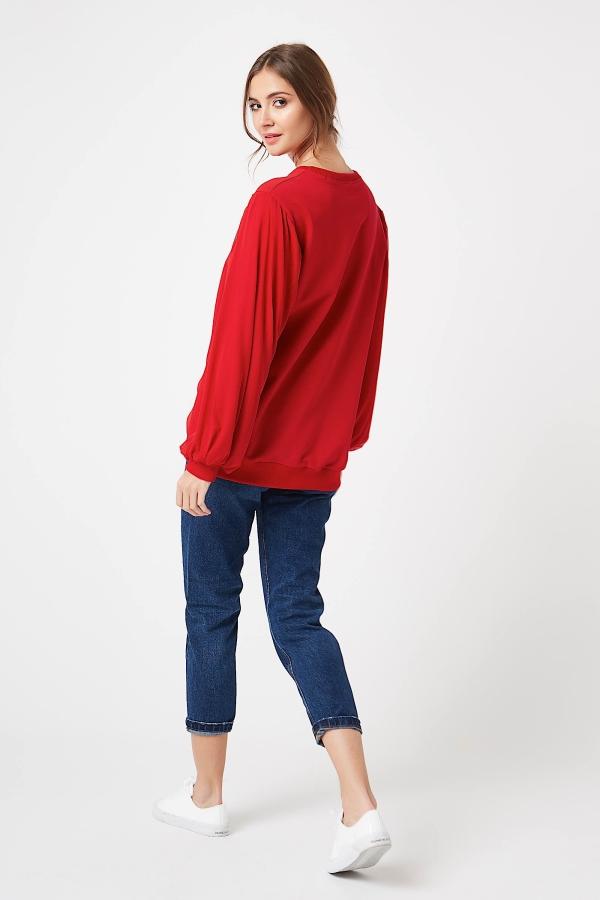 CM4248 Damska bluzka z bufiastymi rękawami - czerwona