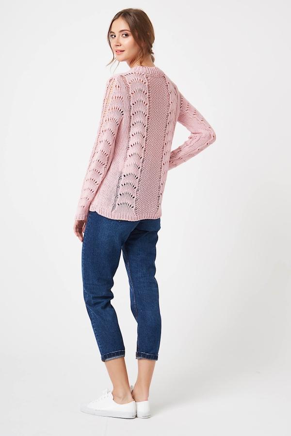 CM4250 Sweter ażurowy z długim rękawem - pudrowy róż
