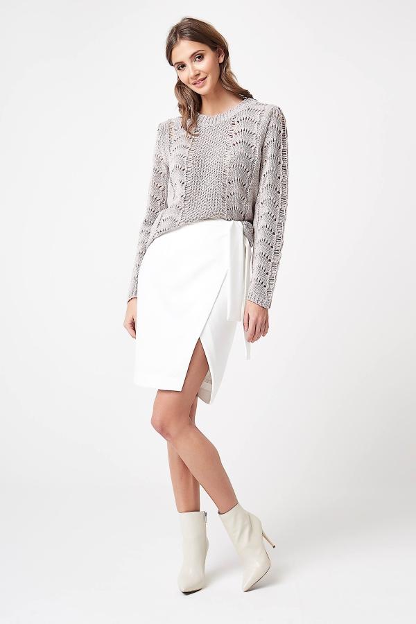 CM4250 Sweter ażurowy z długim rękawem - beżowy