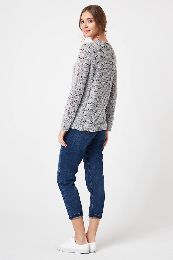 CM4250 Sweter ażurowy z długim rękawem - jasny szary